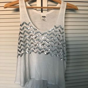 PINK white tank with sequin detailing